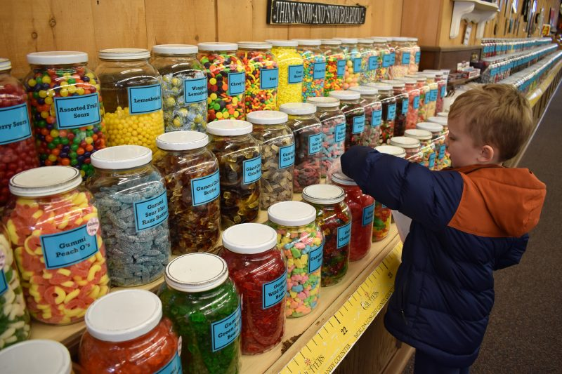 Picking out candy at Chutters
