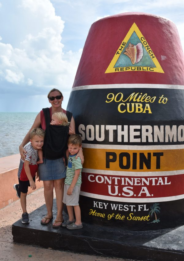 Laurence and the kids at Southern Most Point