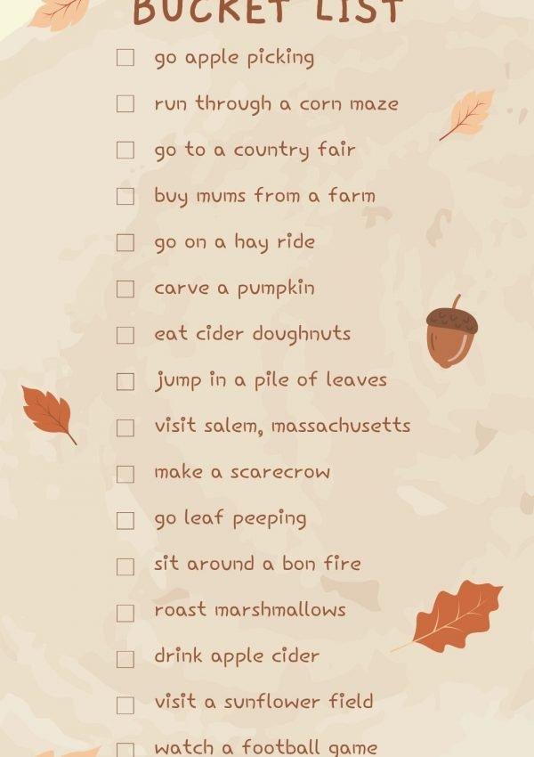 Fall Bucket List- with free printable